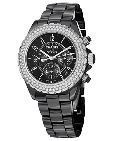 2ba440776a1 Mens   Ladies Black Chrono Ceramic Couture Watch with CZs - Boomer ...