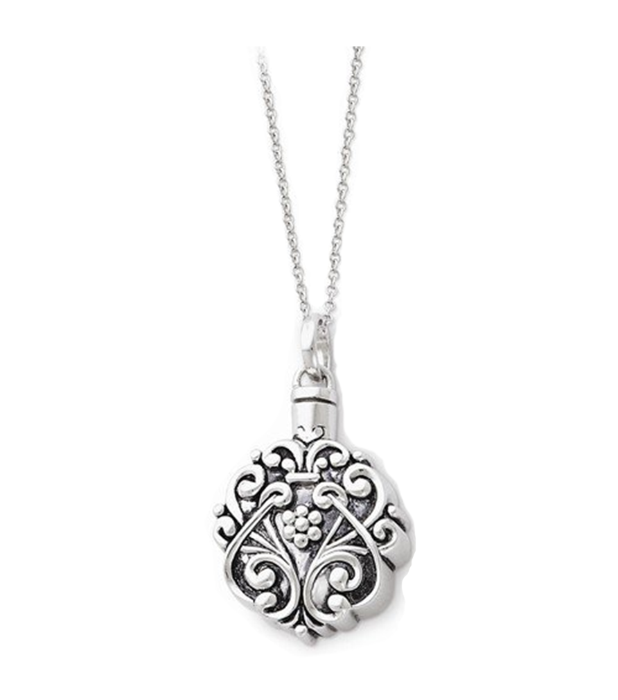 CZ Antiqued Love Cross Pendant Necklace 18 Rhodium-Plated Sterling Silver 25x22MM