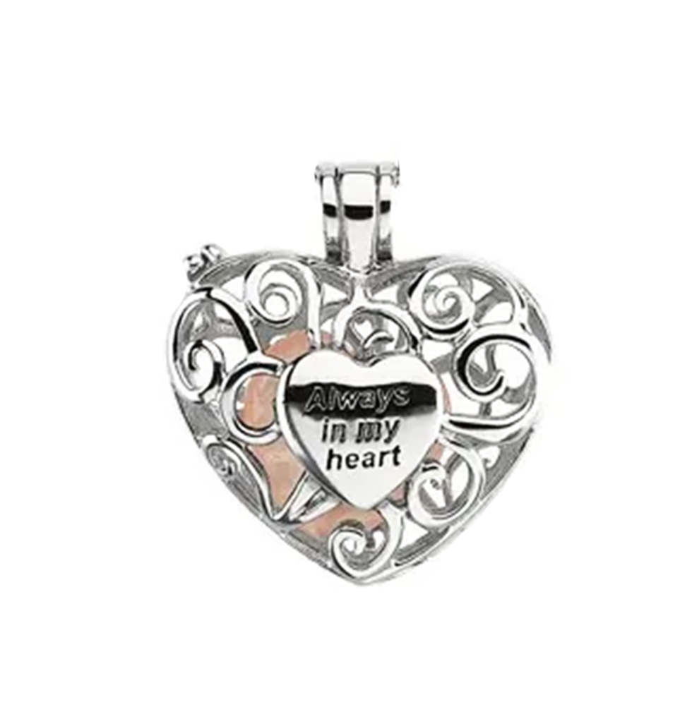 18 19x19MM CZ Families Are Tied Together Heart Pendant Necklace Antiqued Rhodium-Plated Sterling Silver