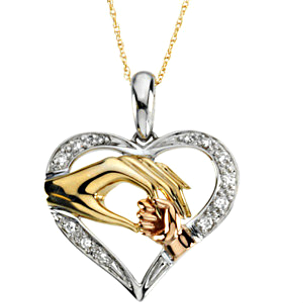 Tri color heart mother and child hands necklace r45070 1000 boomer tri color heart mother and child hands necklace r45070 1000 aloadofball Images