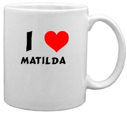I heart Matilda coffee mug, white mug with red heart and black text.