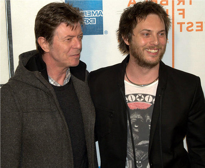 David Bowie with son Duncan Jones at the 2009 Tribeca Film Festival for the exhibition of Jones's directorial debut, the film Moon. Photographer David Shankbone.