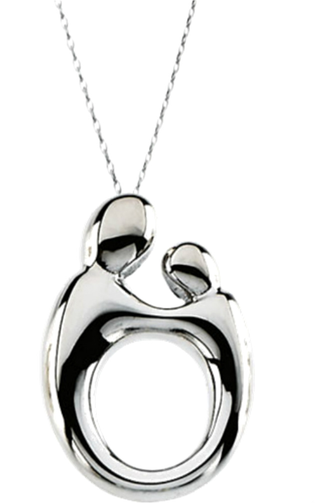 Mother and child series by janel russell boomer style rhodium plated sterling silver mother and child pendant suspended from an adjustable 2200 inch rolo chain mozeypictures Image collections