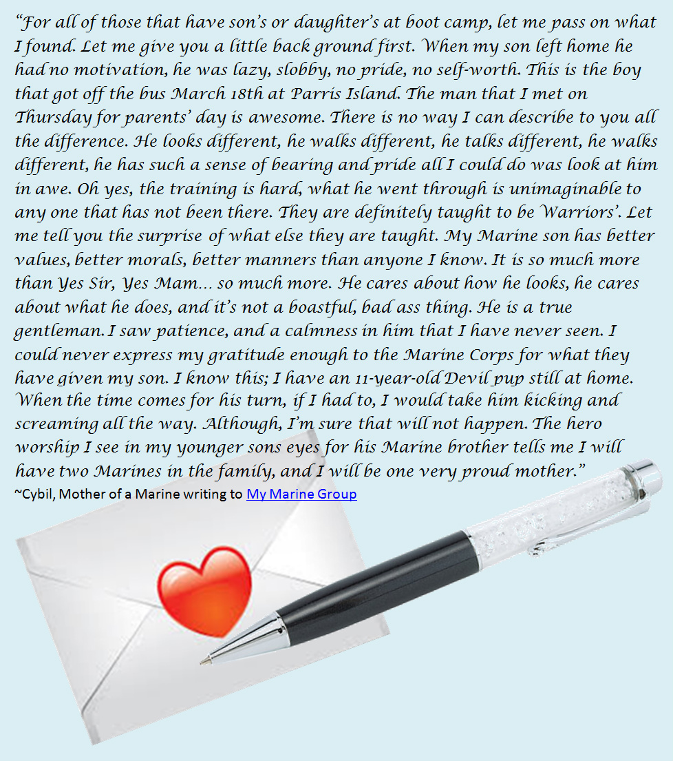 Marine Corps letter of praise from mom, Cybil, to MyMarine group regarding how incredible the Marine Corps made her son.