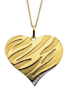 14k Yellow Gold Embossed Zebra Diamond Heart Necklace at The Men's Jewelry Store; for those who love Zebra stripes and diamond and luxurious 14k yellow gold. Stunning!