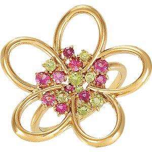Beautiful Arizona Peridot and Pink Tourmaline 14k Yellow Gold Ring from The Men's Jewelry Store at Amazon