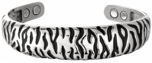 Embossed Zebra bracelet with four magnets available at The Mens Jewelry Store at Amazon.