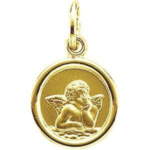 14k Yellow Gold St Raphael Angel Octagon Medal