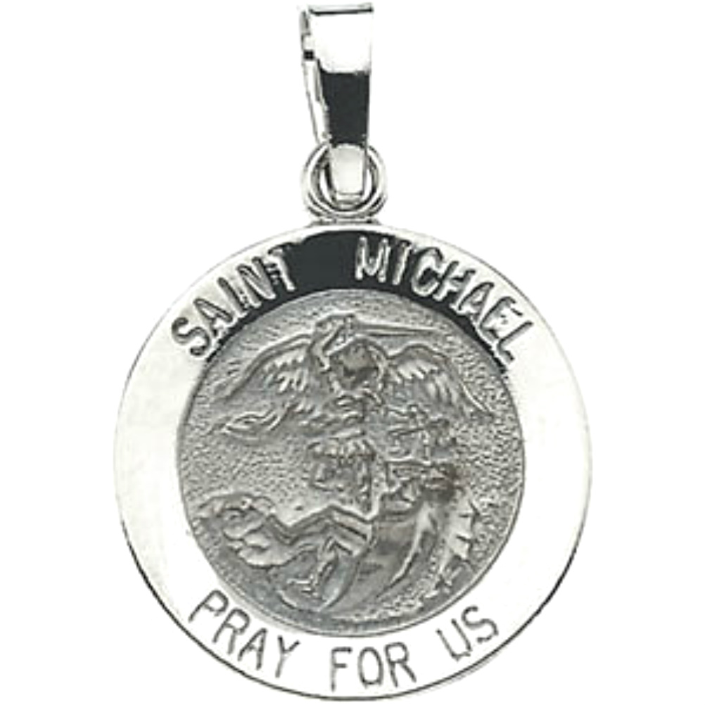 St michael archangel medals and necklaces boomer style antiqued round 14k white gold saint michael medal mozeypictures Choice Image