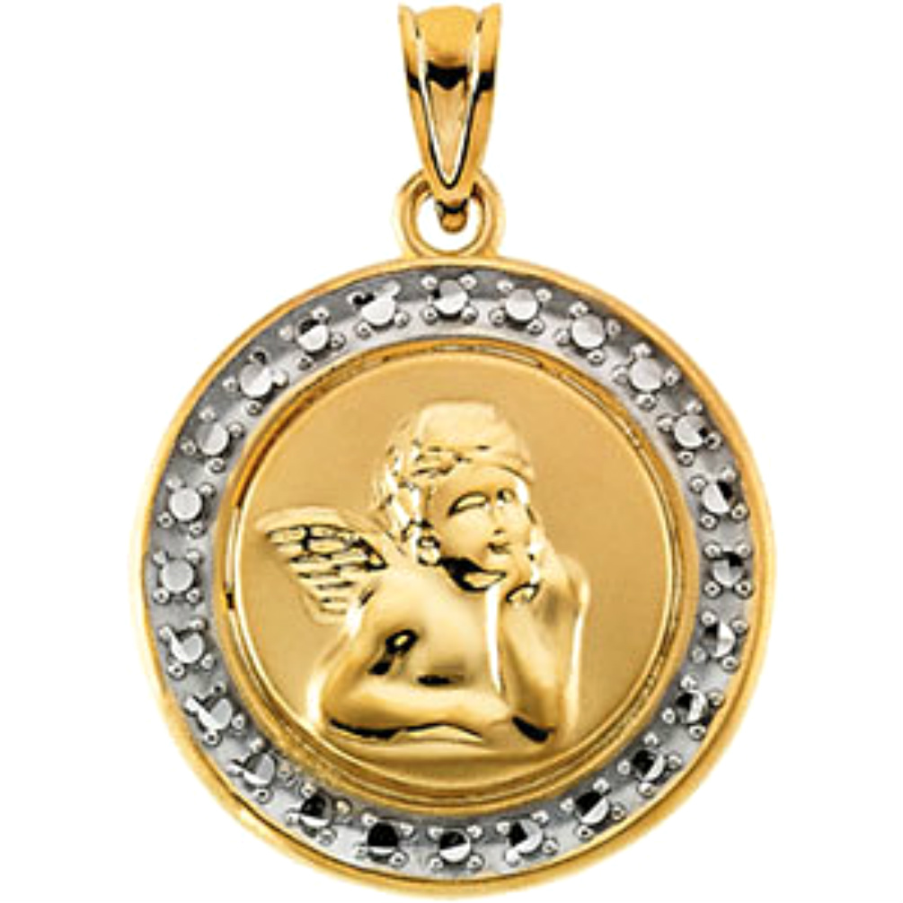14K Yellow Gold 15mm Round St Raphael Medal