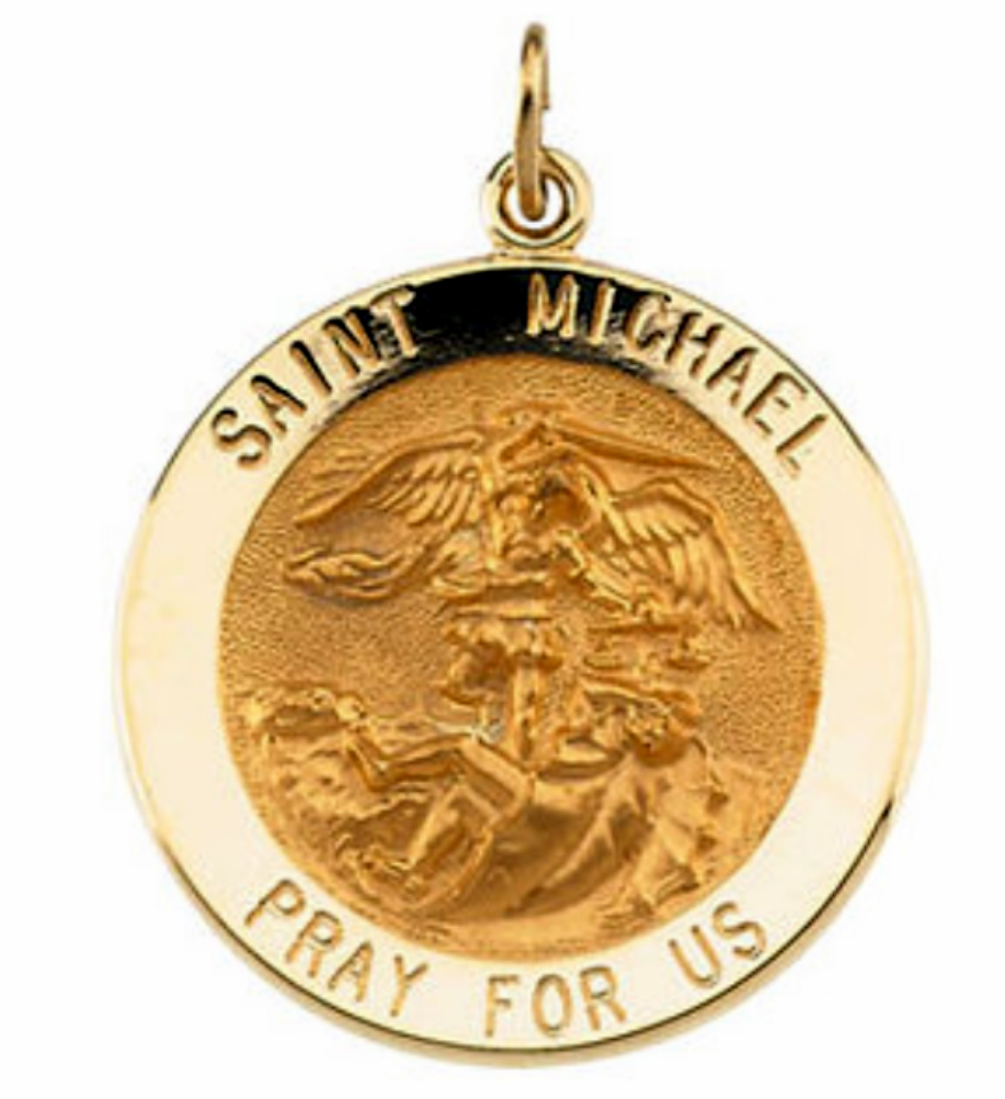 St michael archangel medals and necklaces boomer style 14k yellow gold st michael pendant aloadofball Gallery