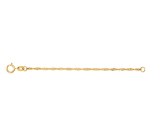 1.25mm 14k Yellow Gold Solid Singapore Chain Necklace Extender Safety Chain