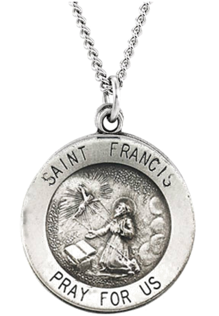 St francis of assisi patron saint of animals veterinarians st francis of assisi sterling silver necklace in 18 and 24 inch lengths aloadofball Choice Image