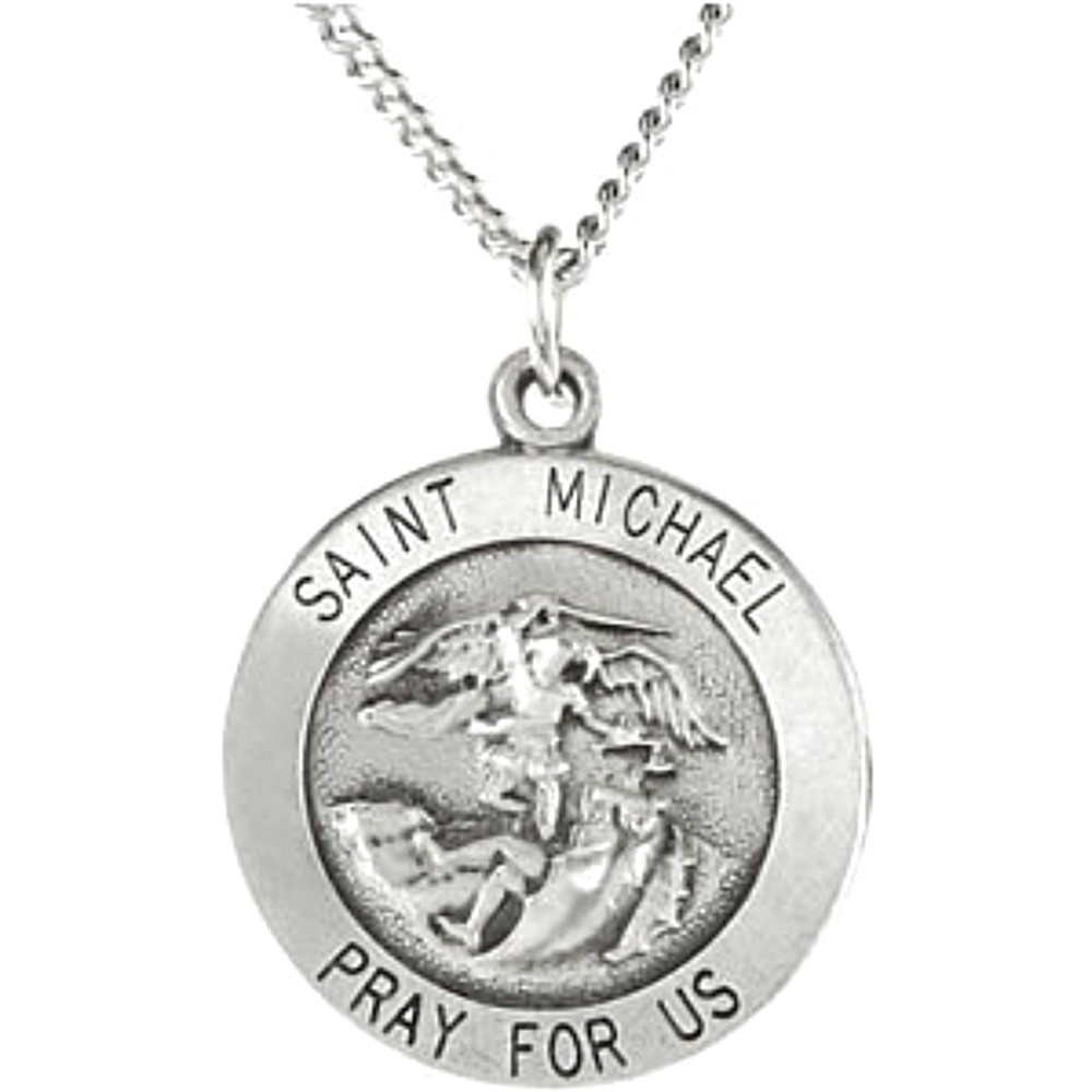 St michael archangel medals and necklaces boomer style antiqued sterling silver round st michael medal necklace aloadofball Gallery