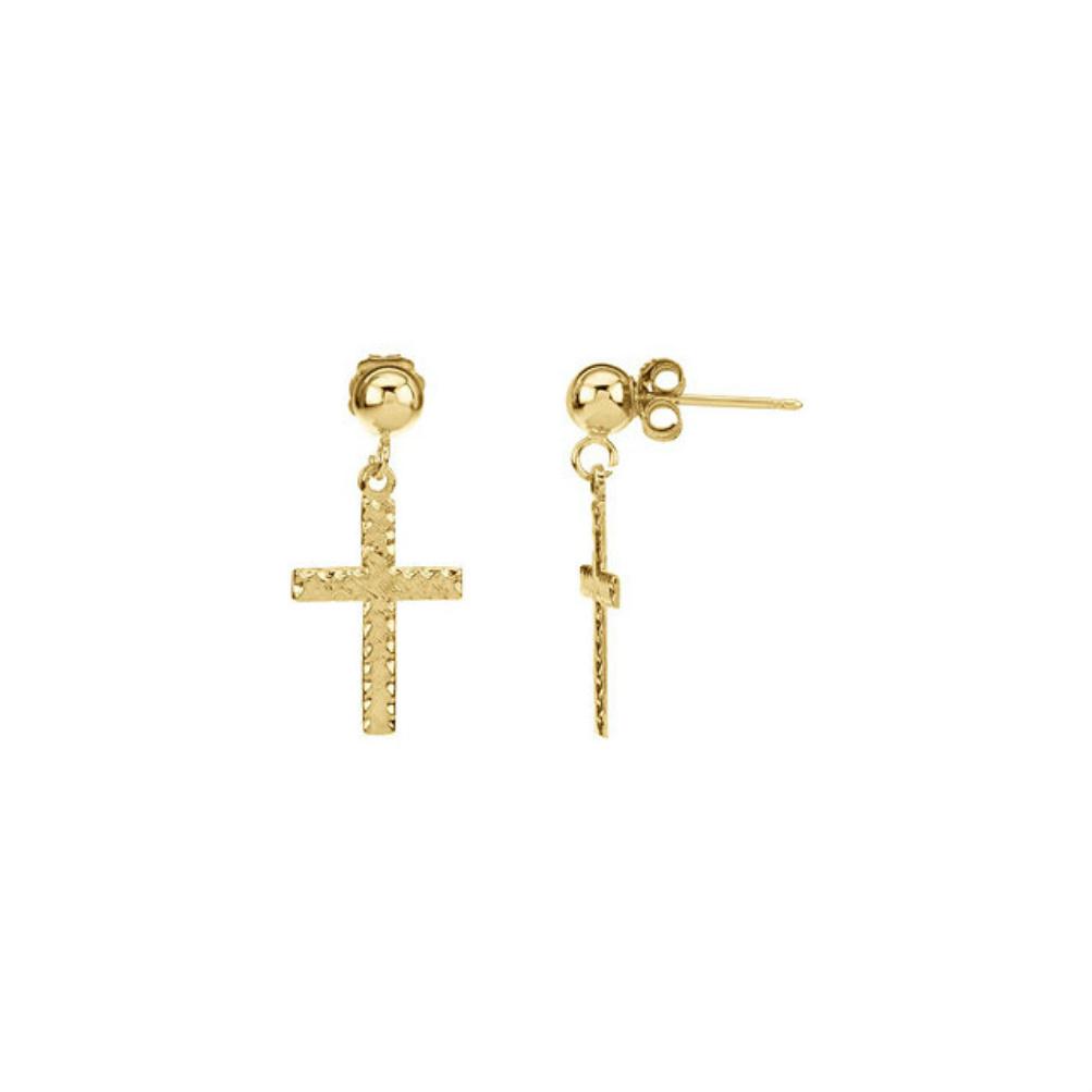 14k Yellow Gold Dangle Cross Earringsr165111006