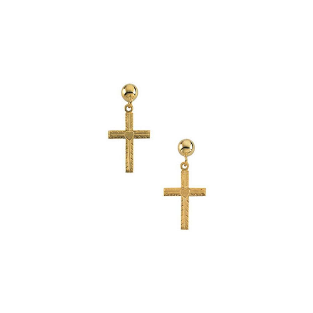 14k Yellow Gold Dangle Cross Earringsr165441006