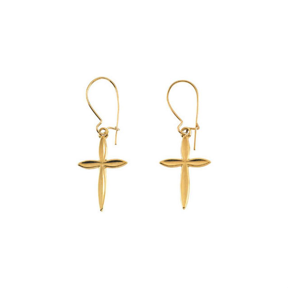 14k Yellow Gold Dangle Cross Earringsr165491006