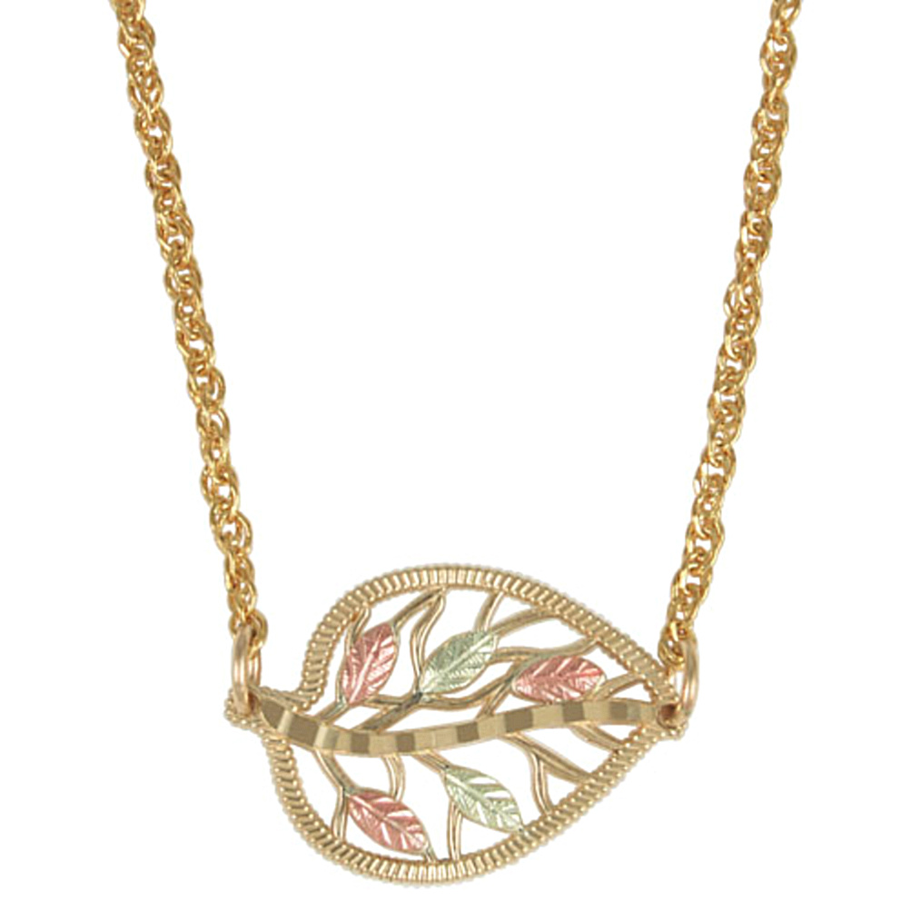 10k Yellow Gold Double Leaf Pendant Necklace 12k Green and Rose Gold Black Hills Gold Motif 18