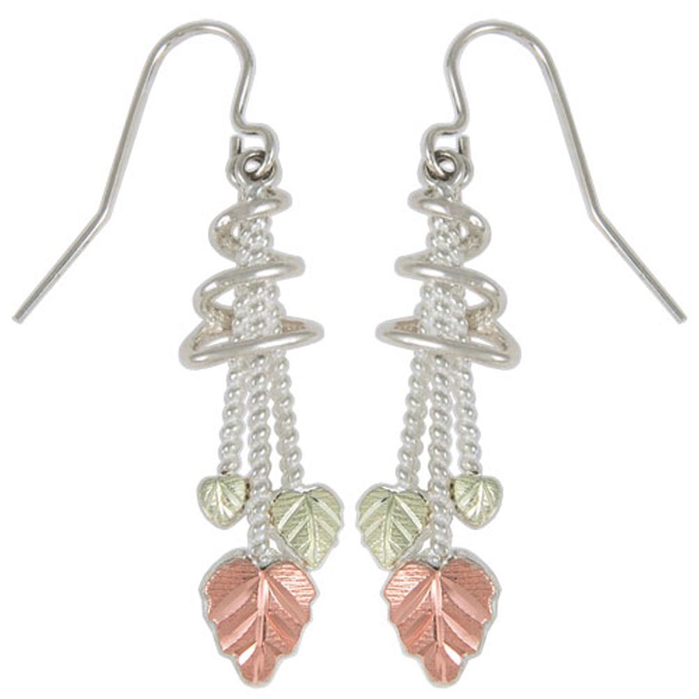 Granulated Leaf Cascade Earrings Sterling Silver 12k Rose Gold Green Black