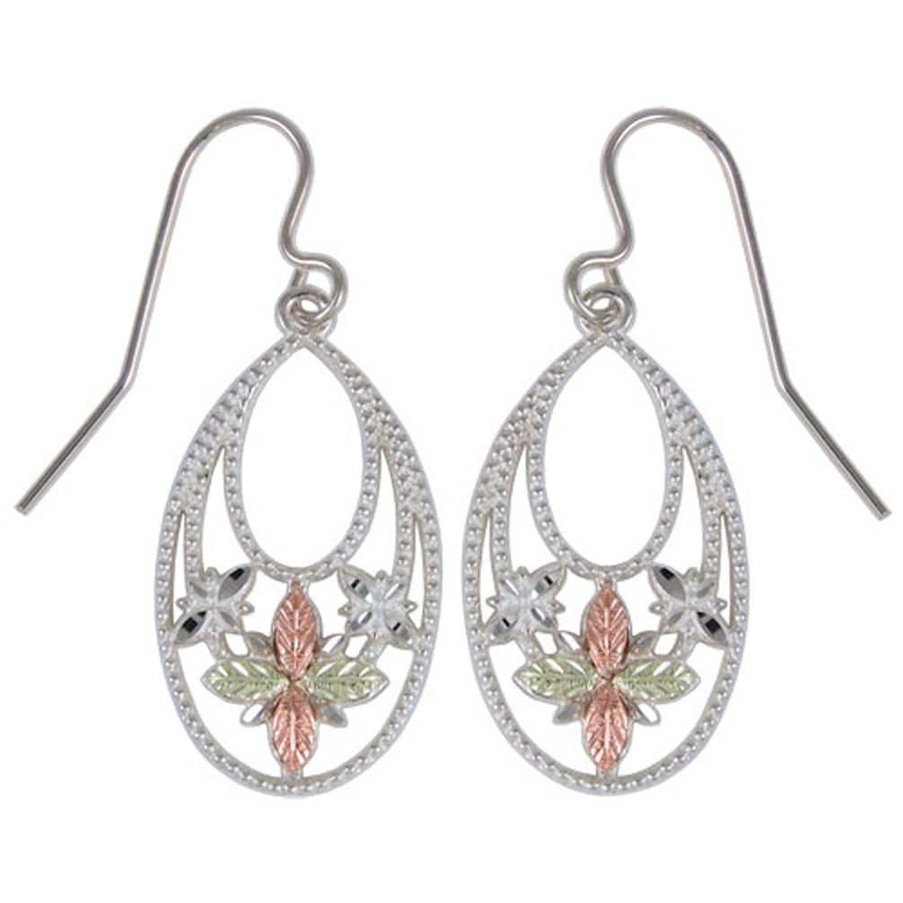 Granulated Oval Flower Earrings Sterling Silver 12k Rose Gold Green Black