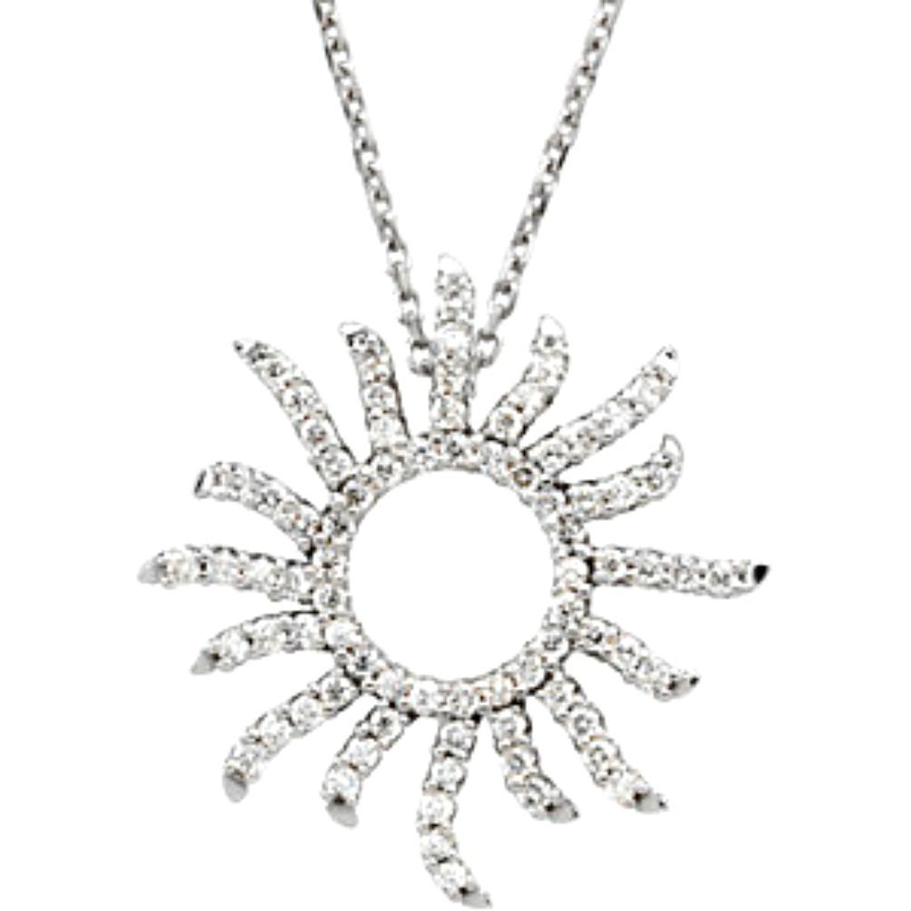 Unique diamond pendants and diamond necklace boomer style diamond sun sunburst 14k white gold necklace 16 aloadofball Images