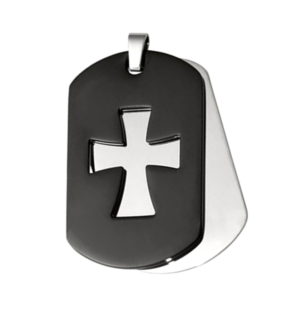 Black dog tag cross pendant boomer style magazineboomer style magazine black ip stainless steel cut out cross dog tags audiocablefo