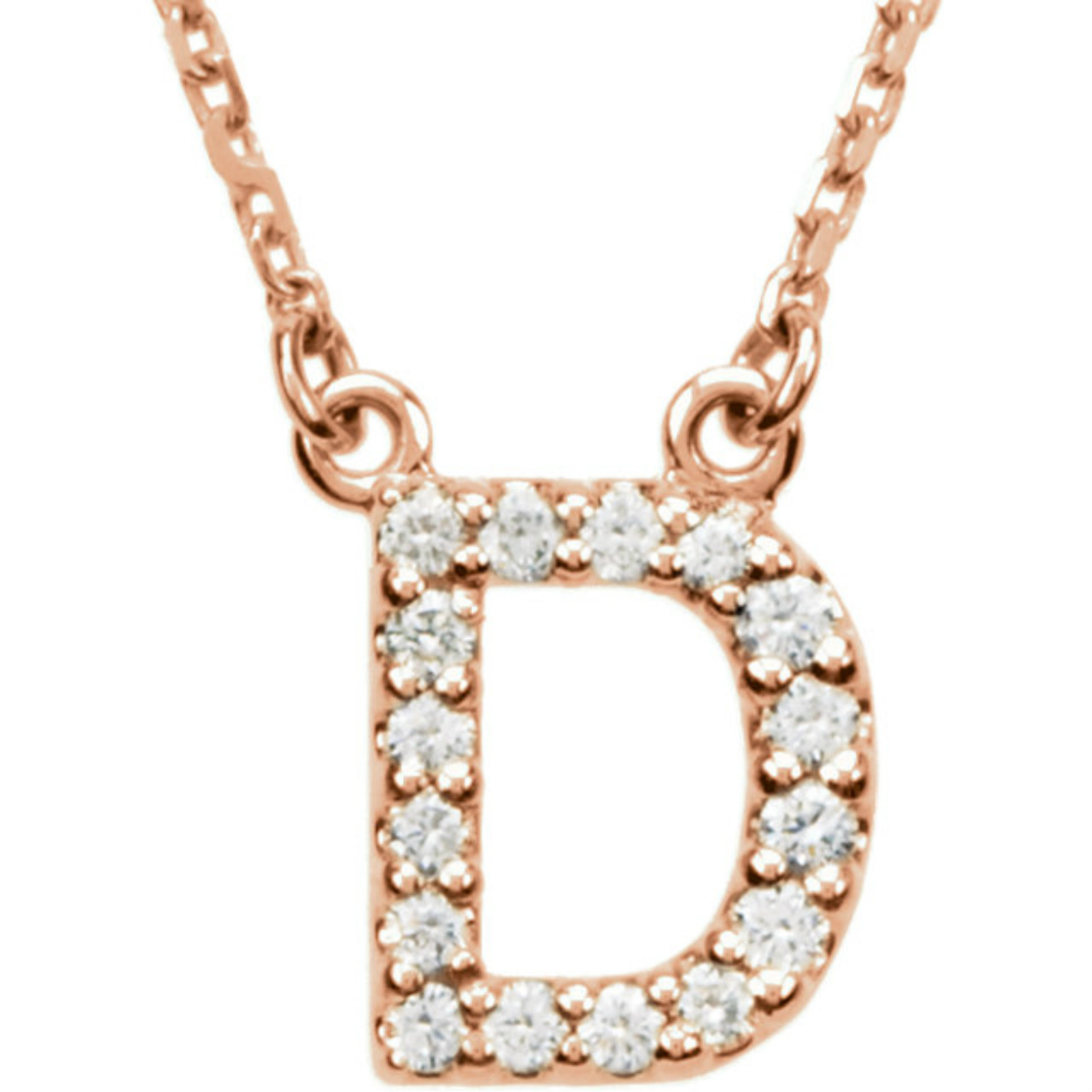 Diamond initial necklaces boomer style magazineboomer style magazine diamond d initial 14k rose gold necklace 16 mozeypictures Image collections