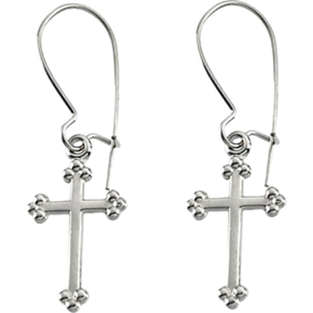 14k White Gold Cross Dangle Earrings