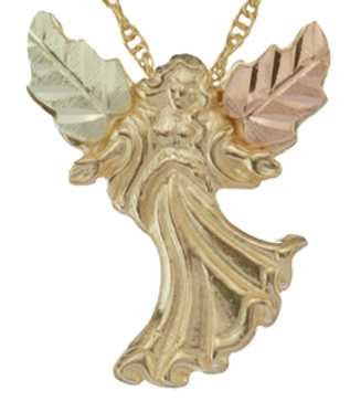 Black hills gold guardian angel collection boomer style angel wing necklace in 10k yellow gold 12k green and rose gold black hills gold aloadofball Gallery