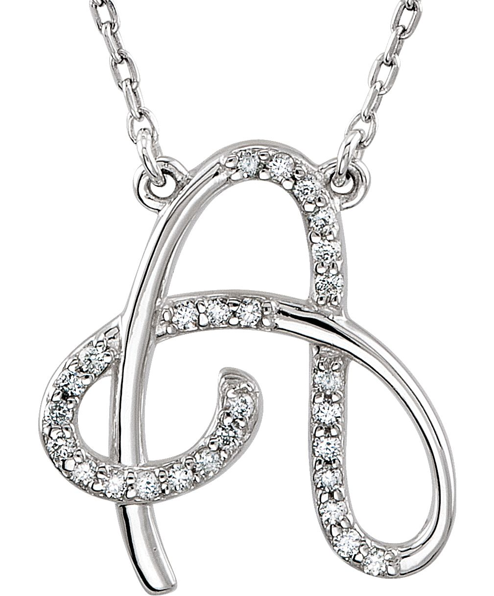 Diamond Initial Letter A 14k White Gold Necklace 16