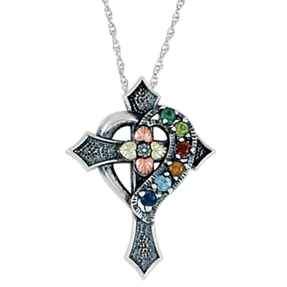 Black hills gold cross jewelry boomer style magazineboomer style oxidized emerald peridot garnet citrine blue topaz sapphire cross pendant necklace aloadofball Gallery