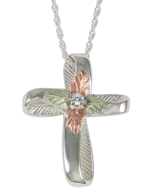 Antiqued Dove Cross Pendant Necklace 18 Sterling Silver 12k Green and Rose Gold Black Hills Gold Motif