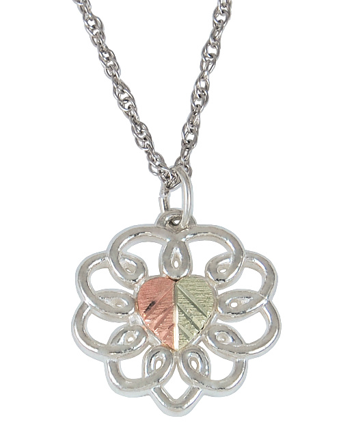 12k Rose and Green Black Hills Gold Heart Silhouette Pendant Necklace Sterling Silver