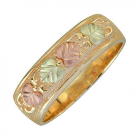 black hills gold 10k yellow gold band with 12k green gold and 12k rose gold for