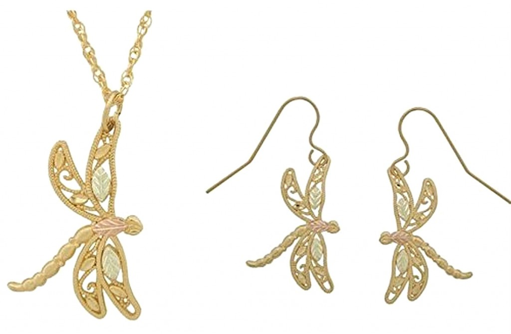 Dragonfly Necklace And Earrings Jewelry Set 10k Yellow Gold 12k Rose Green