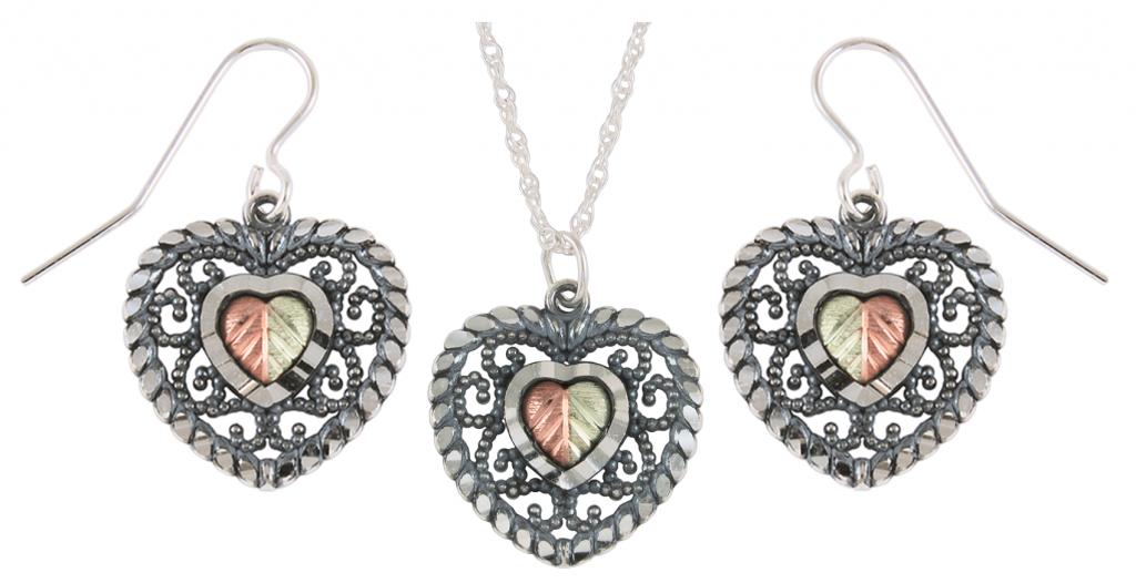 22811de57 Black Hills Gold Sterling Silver Jewelry Sets Boomer Style. 1 5 ct diamond  heart earring pendant set in sterling ...