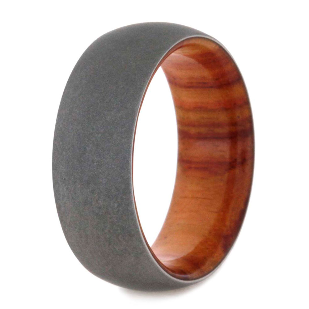 titanium rings by jewelry johan wooden wedding bands mens Overlay Tulip Wood With Sandblasted 8mm Comfort Fit Titanium Wedding Band