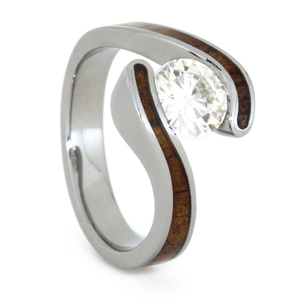 Charles Colvard Moissanite Koa Wood Engagement Ring And Solitaire Diamond Titanium Wedding Band