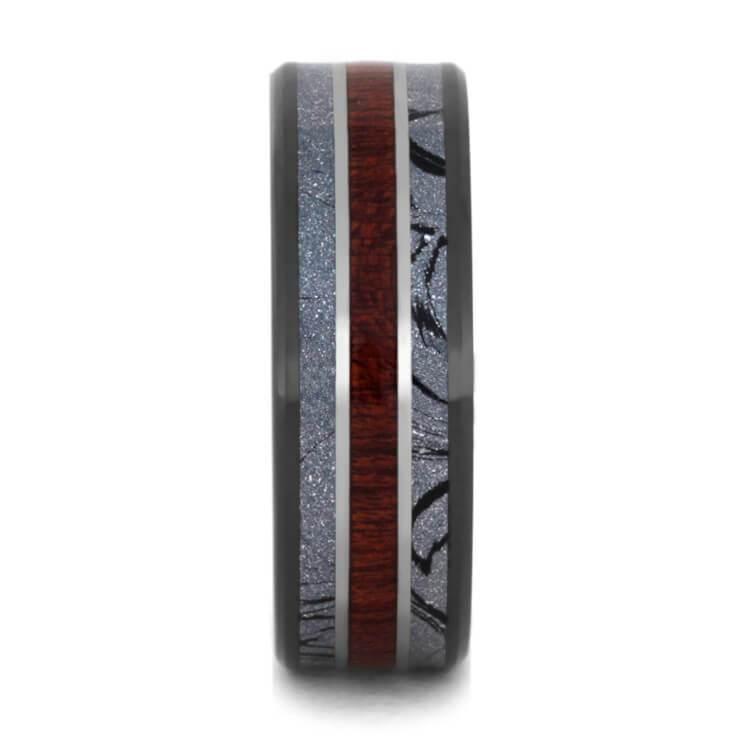 Bloodwood 8mm Comfort-Fit Black Ceramic Sleeve Wedding Band