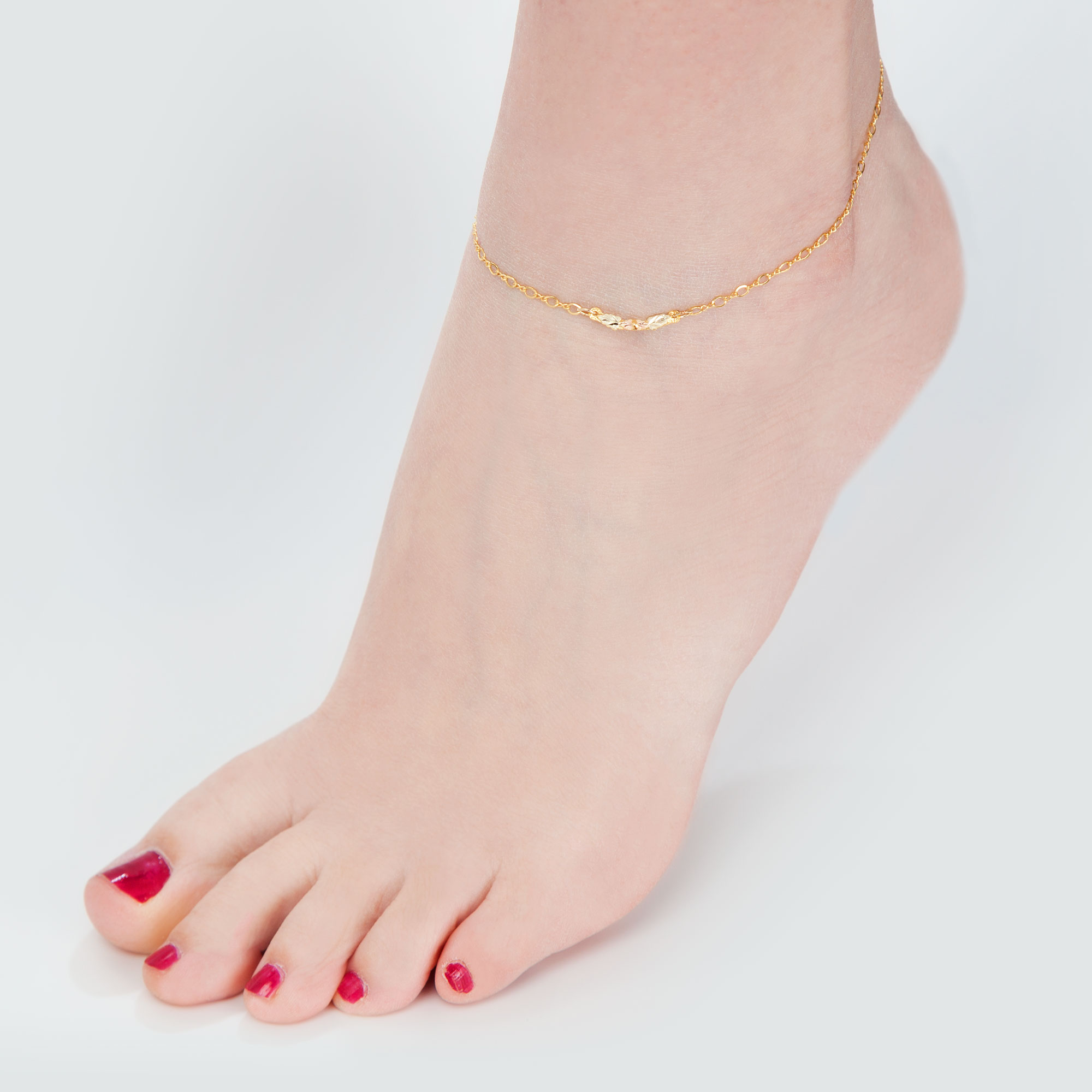jewels gold heart ankle anklet karat by bracelet product chain elle
