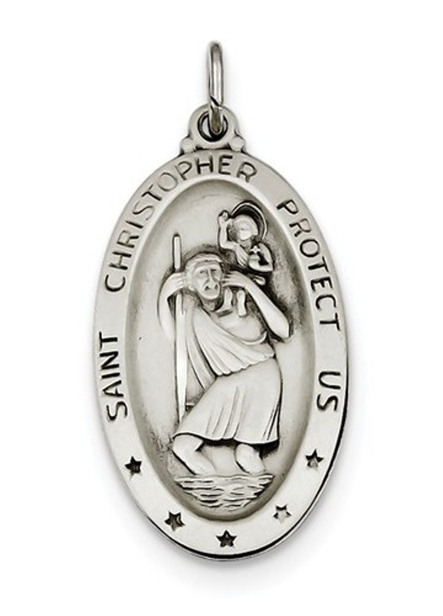 Christopher Medal Sterling Silver St 41X31MM