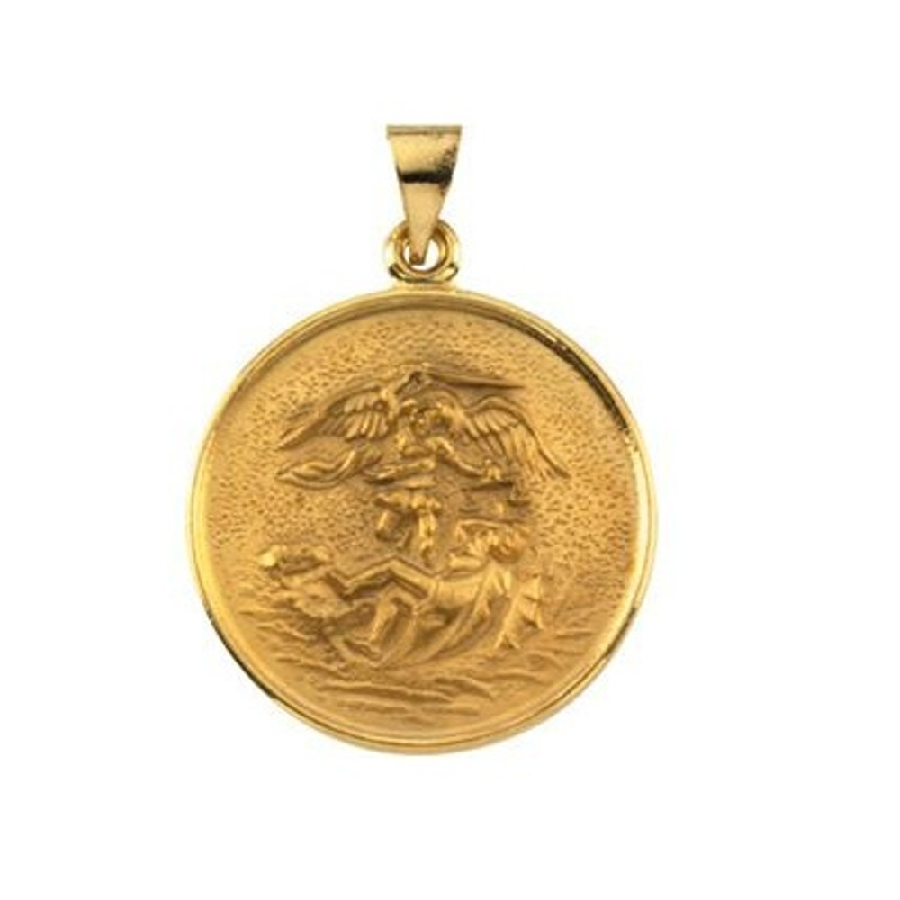 St michael archangel medals and necklaces boomer style 18k yellow gold st michael pendant mozeypictures Image collections