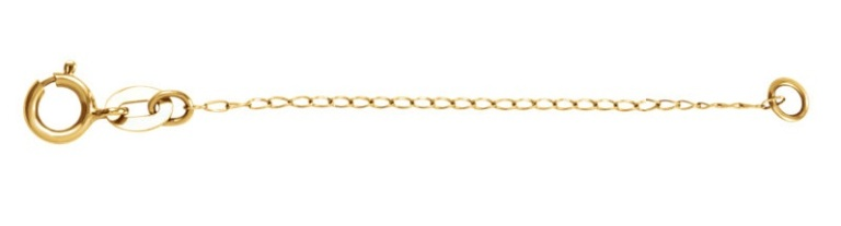 14K White Gold Curb Chain Necklace Extender Safety Chain 2.25mm